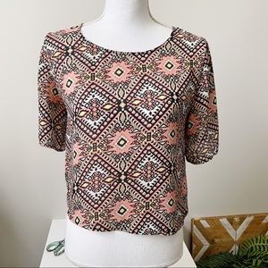 Umgee Tribal Aztec Graphic Crop Top